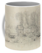 River Landscape With Buildings, Boats, And Figures Coffee Mug