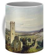 River Landscape With Castle Ruins Coffee Mug