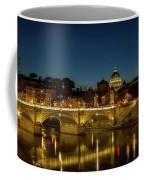 River Tiber And Vatican At Night Coffee Mug