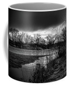 River With Dark Cloud In Black And White Coffee Mug