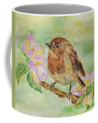 Robin In Flowers Coffee Mug