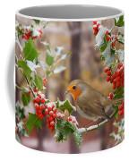 Robin On Holly Twigs Coffee Mug