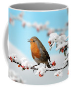 Robin On Snowy Cotoneaster Coffee Mug