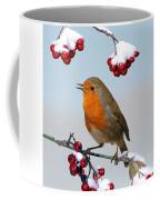 Robin On Winter Cotoneaster Coffee Mug