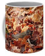 Robin Playing In Fallen Leaves Coffee Mug