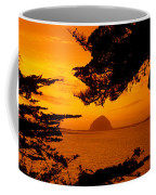 Rock In A Lake At Dusk, Morro Rock Coffee Mug