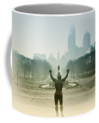 Rocky At The Top Of The Steps Coffee Mug by Bill Cannon