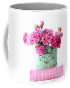 Paris Red Pink Peonies Maison Flowers Pink Book - French Aqua Pink Peonies Books Wall Decor Coffee Mug