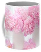 Shabby Chic Pastel Pink Peonies - Pink Peonies In White Mason Jars Coffee Mug