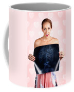 Romantic Woman In Love With Butterflies In Tummy Coffee Mug by Jorgo Photography - Wall Art Gallery