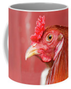 Rooster Close-up On A Reddish Background Coffee Mug