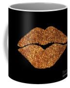 Rose Gold Texture Kiss, Lipstick On Pouty Lips, Fashion Art Coffee Mug