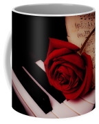 Rose With Sheet Music On Piano Keys Coffee Mug
