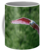 Roseate Spoonbill In Flight 2 Coffee Mug