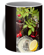 Rosehip Tea With Lemon In Glass Coffee Mug