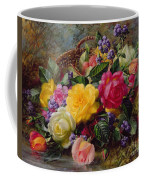 Roses By A Pond On A Grassy Bank  Coffee Mug by Albert Williams