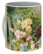 Roses On The Bench  Coffee Mug