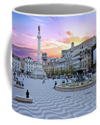 Rossio Square In Lisbon Portugal At Sunset Coffee Mug