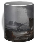 Rough Sea With A Steamer Near The Coast Of Norway Coffee Mug