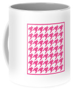 Rounded Houndstooth With Border In French Pink Coffee Mug