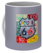 Route 66 Highway Road Sign License Plate Art Coffee Mug