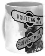 Route 66 Street Sign Black And White Coffee Mug