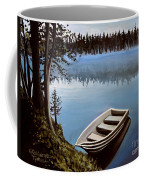 Row Boat In The Fog Coffee Mug