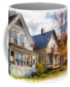 Row Of Houses Hardwick Vermont Watercolor Coffee Mug