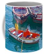 Rowboat In The Harbor At Port Of Valpaparaiso-chile Coffee Mug