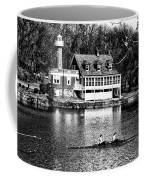 Rowing Past Turtle Rock Light House In Black And White Coffee Mug