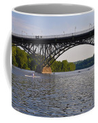 Rowing Under The Strawberry Mansion Bridge Coffee Mug by Bill Cannon