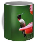 Ruby Red Throated Hummingbird On Feeder Coffee Mug
