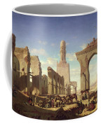 Ruins Of The Mosque Of The Caliph El Haken In Cairo Coffee Mug by Prosper Georges Antoine Marilhat