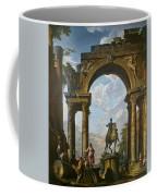 Ruins With The Statue Of Marcus Aurelius Giovanni Paolo Panini Coffee Mug