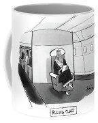 Ruling Class King Sits Alone In Separate Cabin On Airplane. Coffee Mug