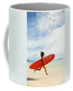 Running With Surfboard Coffee Mug