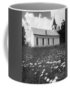 Rural Church In Field Of Daisies Coffee Mug