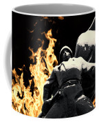 Russian Soldier Statue In Snow And Fire Coffee Mug
