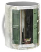 Rustic Open Window With Green Shutters Coffee Mug