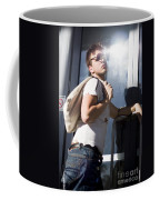 Sacked Man Entering Unemployment Office Coffee Mug