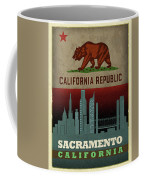 Sacramento City Skyline State Flag Of California Art Poster Series 023 Coffee Mug