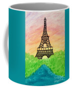 Saffron Sunset Over Eiffel Tower In Paris-watercolour  Coffee Mug