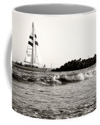 Sailboat And Lighthouse 2 Coffee Mug by Marilyn Hunt