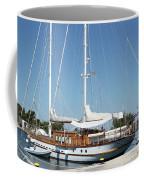 Sailboat In Harbor Summer Vacation Scene Coffee Mug
