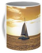 Sailboat Sailing Off Of Anse Chastanet At Sunset Saint Lucia Caribbean  Coffee Mug