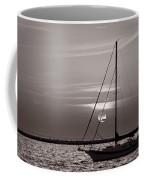 Sailboat Sunrise In B And W Coffee Mug