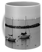 Sailboats And Ducks B-w Coffee Mug