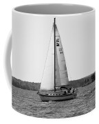 Sailing On Lake Murray S C Black And White Coffee Mug