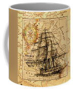 Sailing Ship Map Coffee Mug by Lucia Sirna
