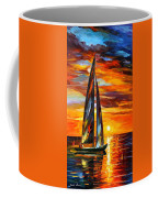 Sailing With The Sun - Palette Knife Oil Painting On Canvas By Leonid Afremov Coffee Mug